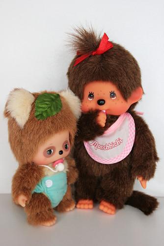 Bebichhichi friend racoon and Monchhichi girl