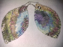 cross stitch peacock feather printed velvet earrings