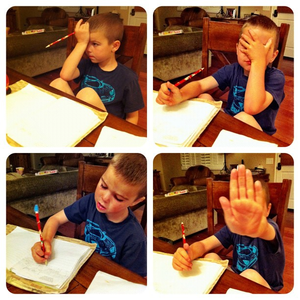 The Four Stages of Homework. This is painful tonight.