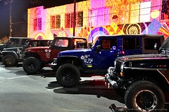 RED DIRT JEEPS LINE UP UNDER THE LIGHTS