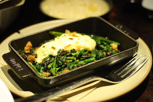 Broccolini with Parmesan Pudding