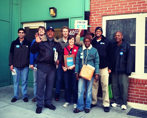 A team of volunteers getting ready to talk to voters in Jamaica Plain.
