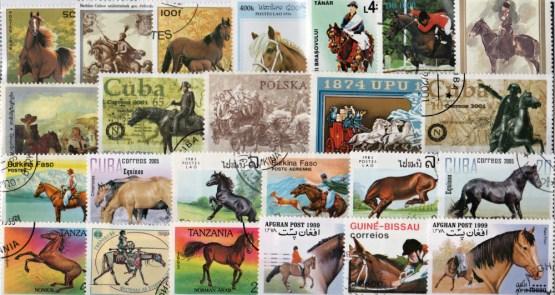 Známky - 50 rôznych, kone