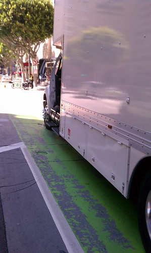 Production truck blocks Spring Street bike lane