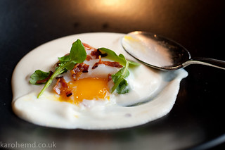Slow cooked hen's egg, hake brandade, bacon, watercress