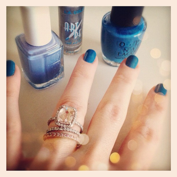 Feelin' blue... two more hues to go. #nails #manicure