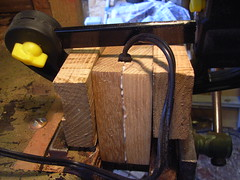 Gluing wooden casing for mains power plug