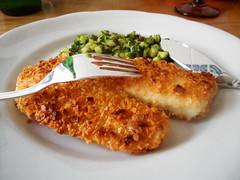 peixe em crosta de amêndoas