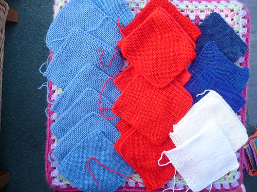 I have sorted out the red, blue and white Squares for our Olympic Blanket.