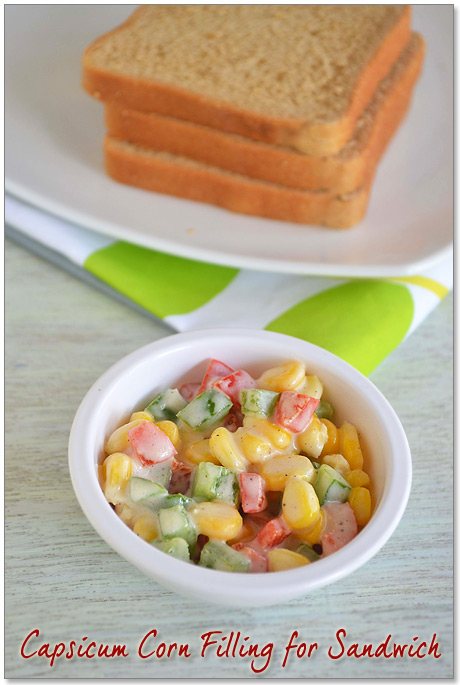 Cheesy Corn Capsicum Sandwich Recipe