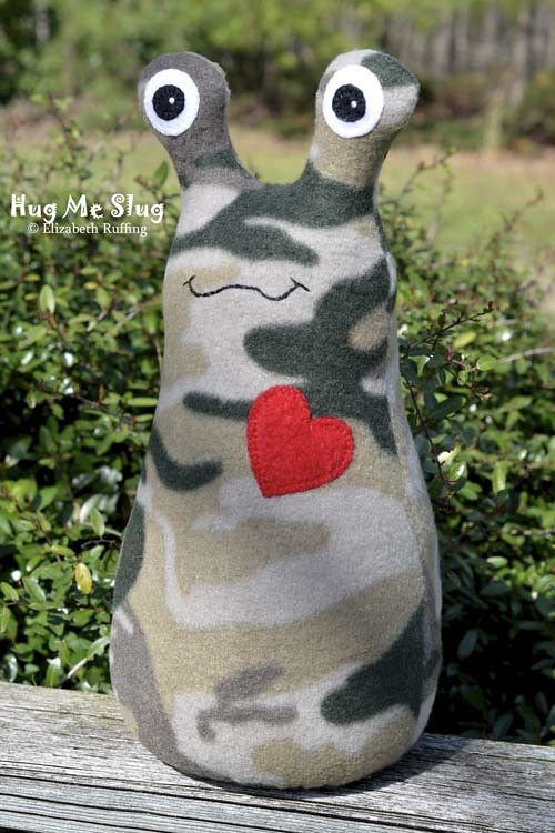 Camouflage Fleece Hug Me Slug, original art toys by Elizabeth Ruffing