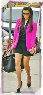 Kim Kardashian Pink BlazerCelebrity Fashion Style