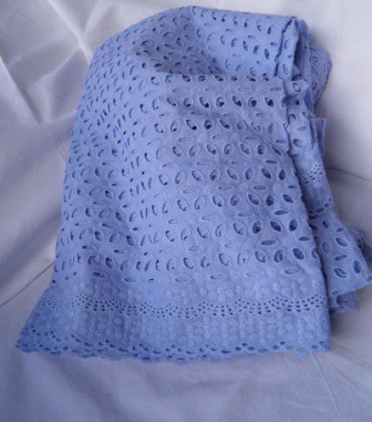 Blue cotton eyelet fabric