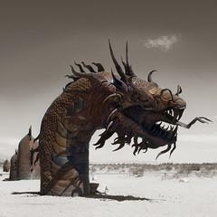 velociraptor(0.0), tyrannosaurus(0.0), dinosaur(0.0), screenshot(0.0), art(1.0), sculpture(1.0), dragon(1.0), illustration(1.0),