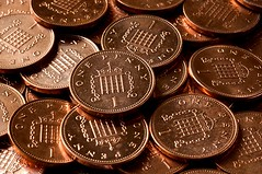 British one penny coins
