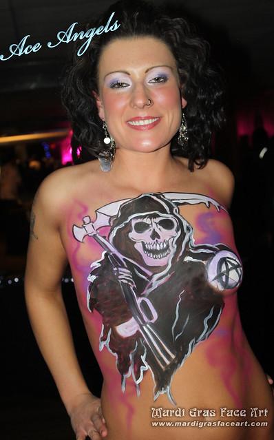 Winnipeg tattoo body painting. (204) 955-2762. MARDI GRAS FACE ART!