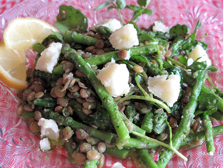 Green lentils, asparagus, and watercress