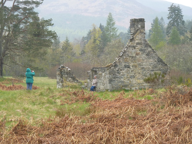 Visiting ruined cottage of ancestors in Scottish Highlands
