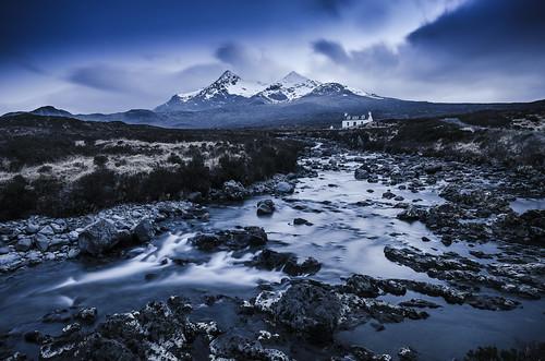 longexposure blue moon snow cold skye clouds river scotland isleofskye le moonlight isle cullins cullin sligachan scurrnangillean
