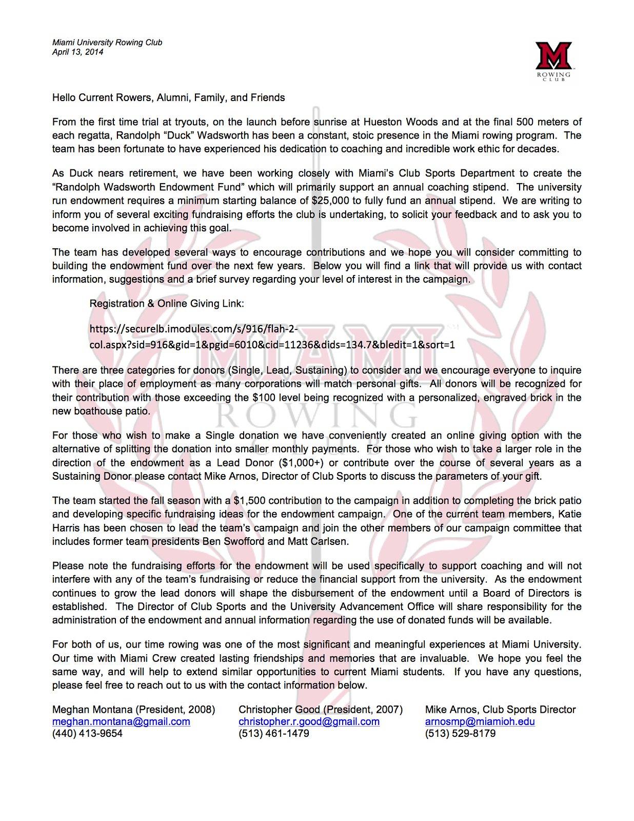 Endowment Letter