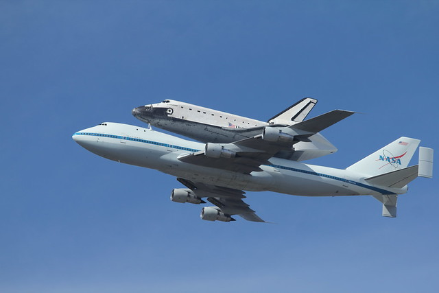 Space Shuttle Endeavour over Moffet Field