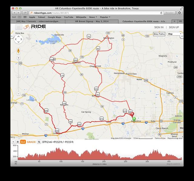 600k brevet route overview