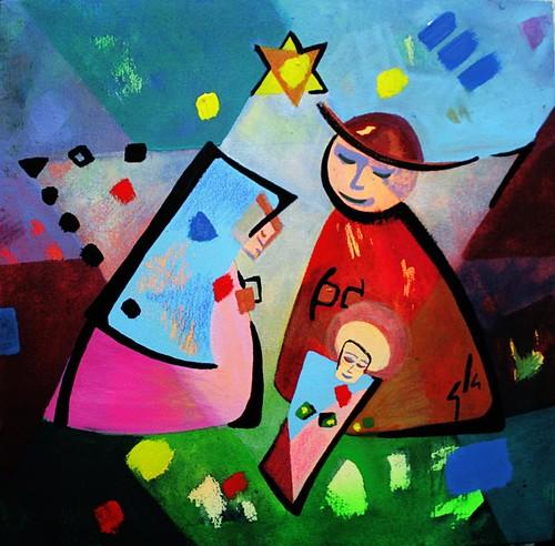 pintura sobre tela dibujos de navidad