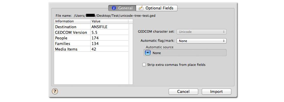 Reunion 9 Mac genealogy software importing Unicode GEDCOM