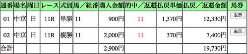 中日新聞杯の馬券