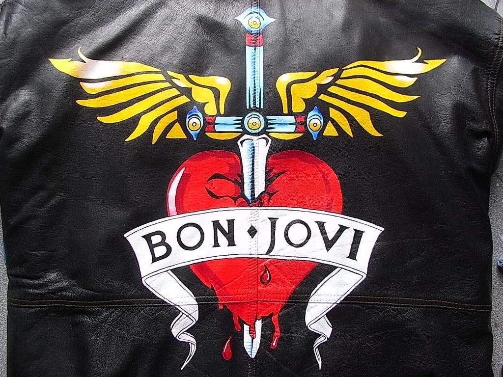 custom painted bon jovi heart and winged dagger logo on a