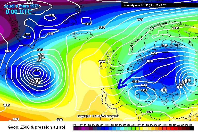carte de situation de la vague de froid fin février début mars 1971 météopassion