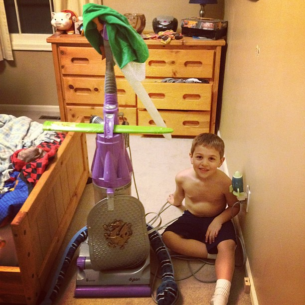 Owen decorated the vacuum to look like Link!! This kid cracks me up with the stuff he comes up with!