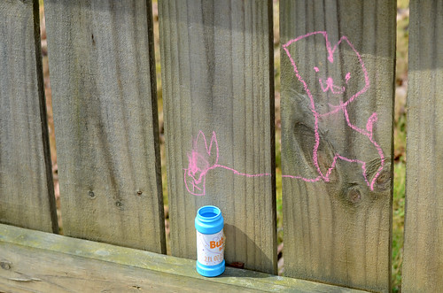 Chalk cat drawing
