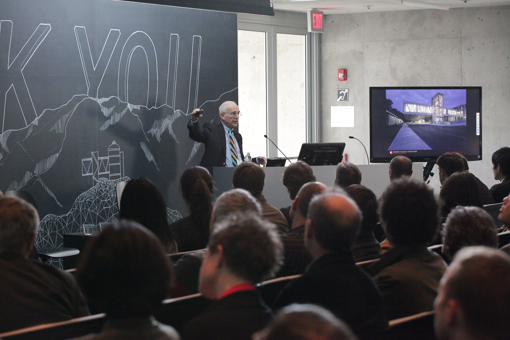 Milstein Hall chief engineer Robert Silman during the Making of Milstein Hall presentation.