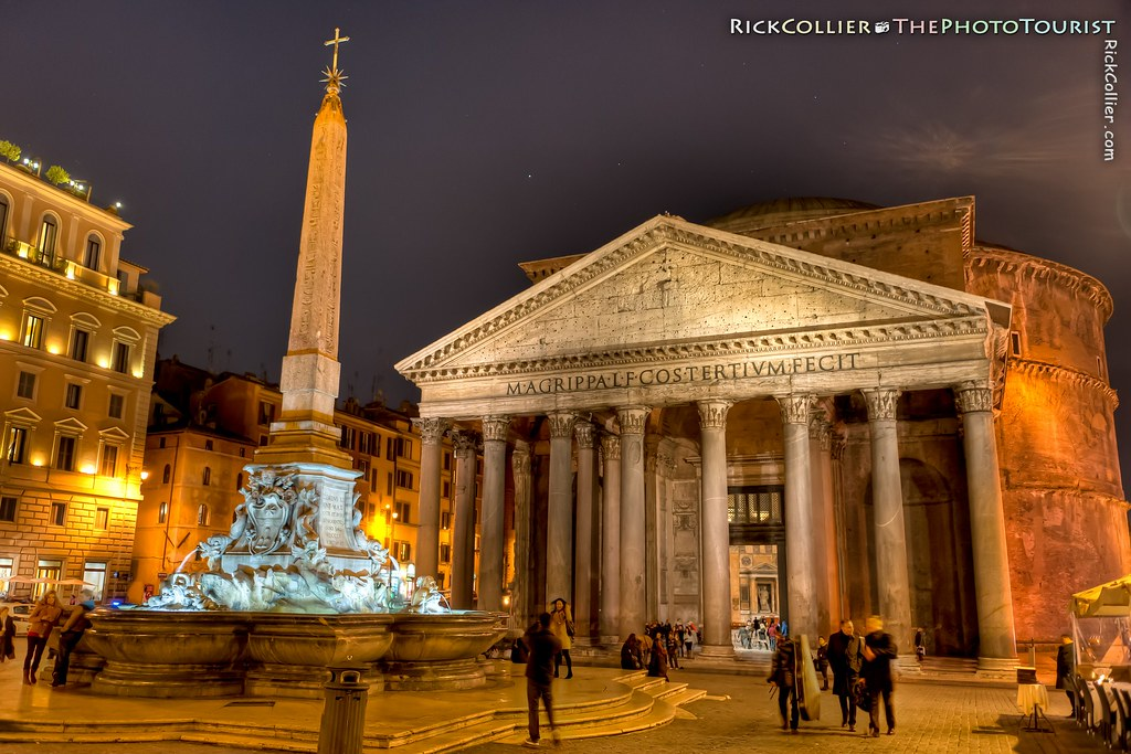 HDR Night Image of the Pantheon and Piazza della Rotonda in Rome, Italy