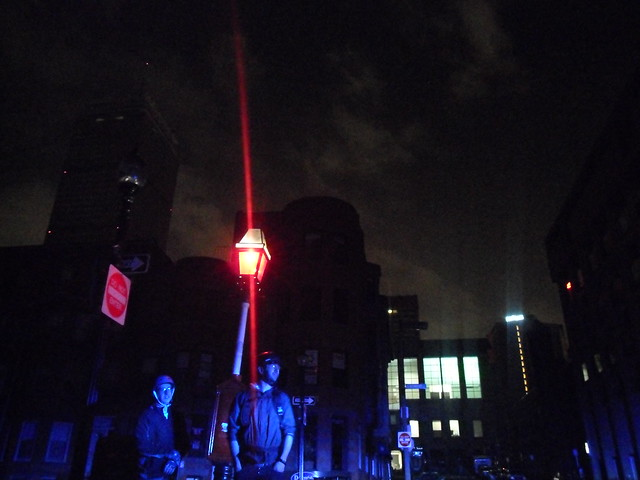 Boston Blackout: BPD and Lone Street Lamp Light Up Newbury St, the Prudential Center and the Hilton Hotel