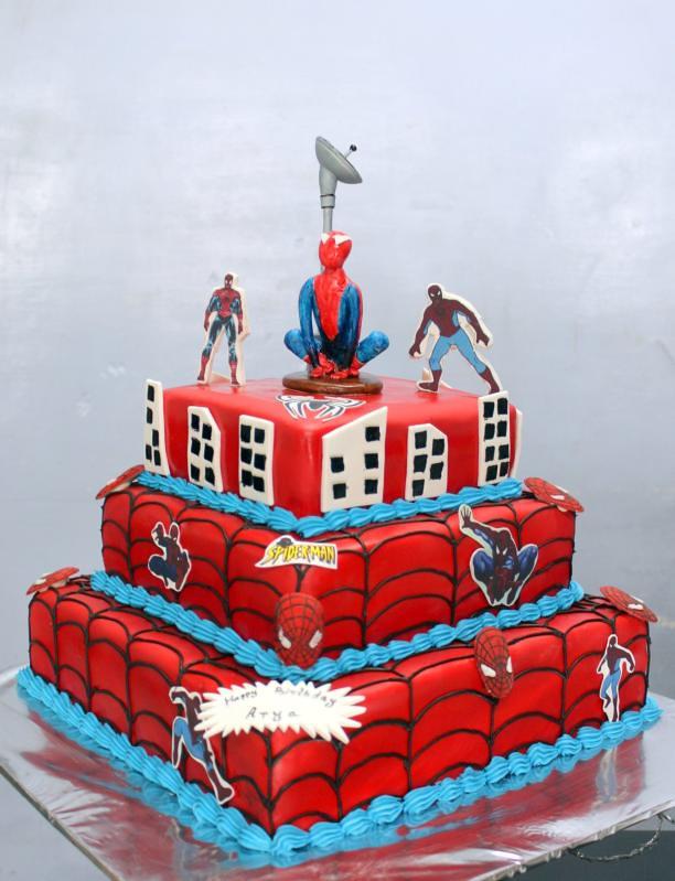 Spiderman Cartoon 3 Tier Birthday Cake