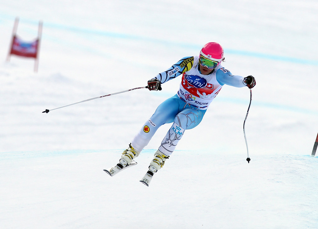 Ben Thomsen skis to a second-place finish in the downhill in Sochi, Russia.
