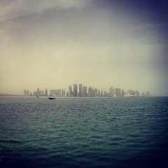West Bay, Doha, Qatar غرب خليج الدوحة قطر #doha #qatar #skyline #water #iphone #buildings