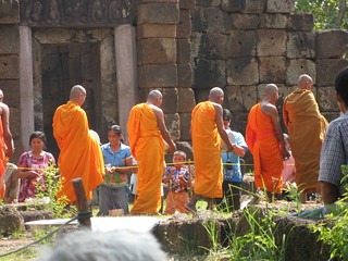 Monks accepting alms