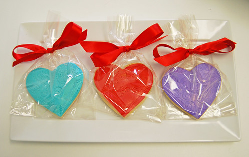 Valentine's Day fondant iced sugar cookies wrapped