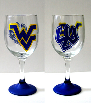 W & L and West Virginia wine glass