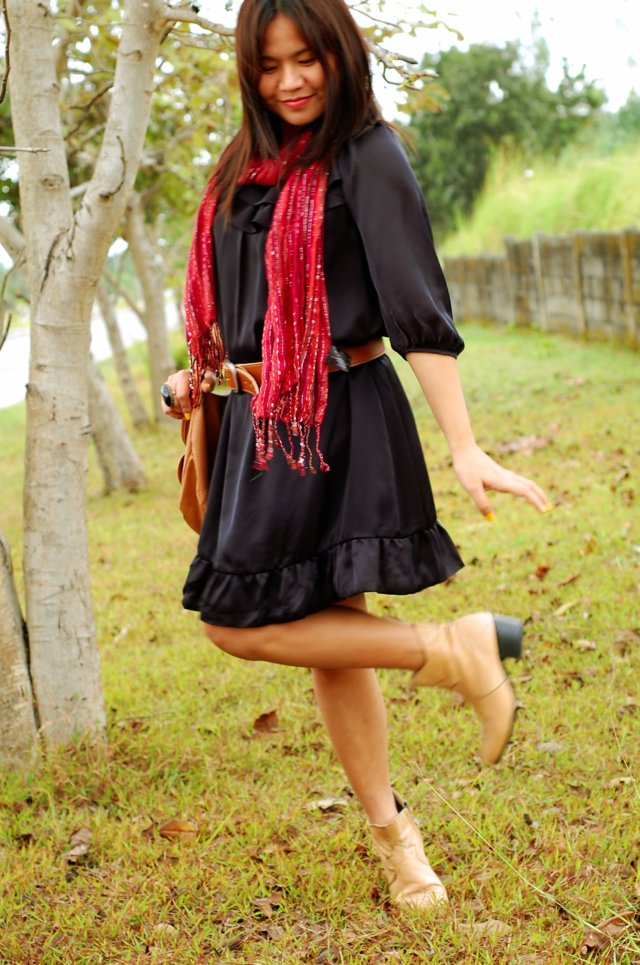 black dress, brown belt, nude booties and red scarf, denise katipunera, pinay filipina fashion blogger