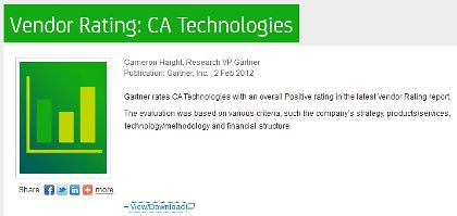 Gartner rates CA Technologies with an overall Positive rating in the latest Vendor Rating report.