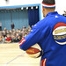 Harlem Globetrotter Blenda Rodriguez congratulates Thurgood Marshall Elementary on their successful attendance