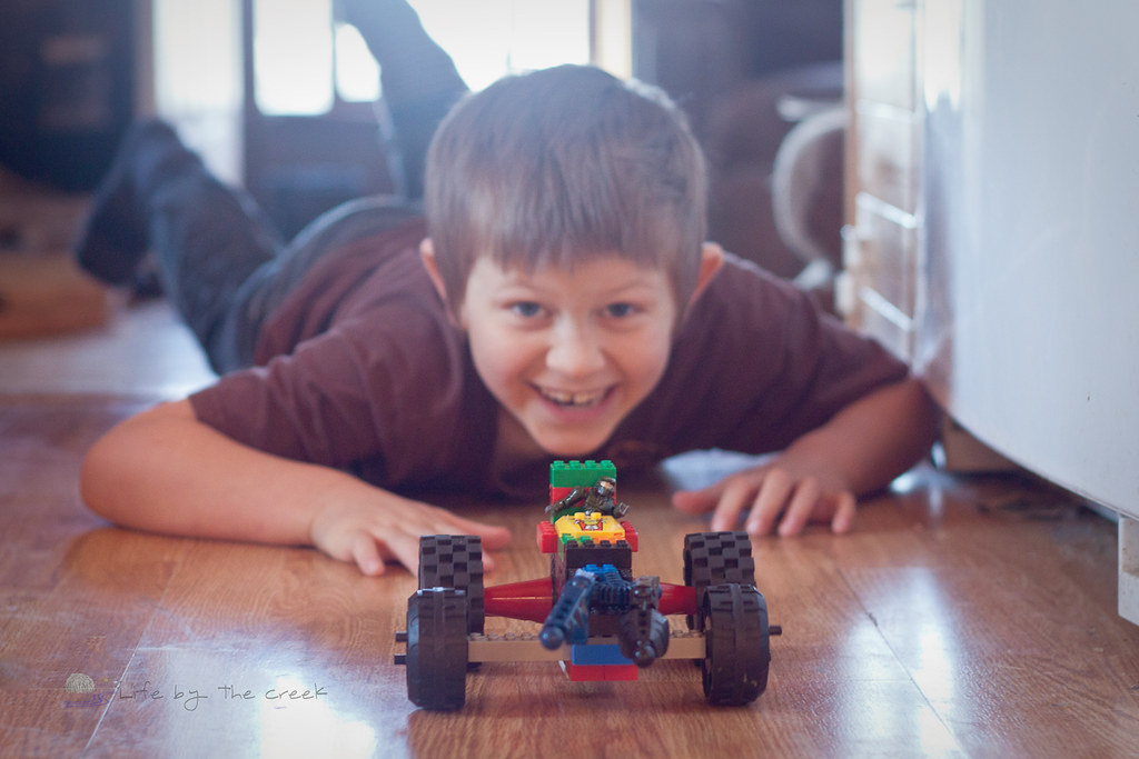 Boy with lego car