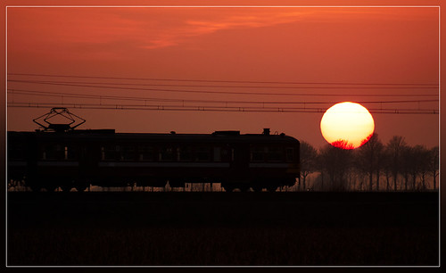 sunset train soleil zonsondergang trein nmbs sncb am62 am63