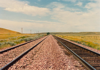 Parallel railway lines, eastern Montana