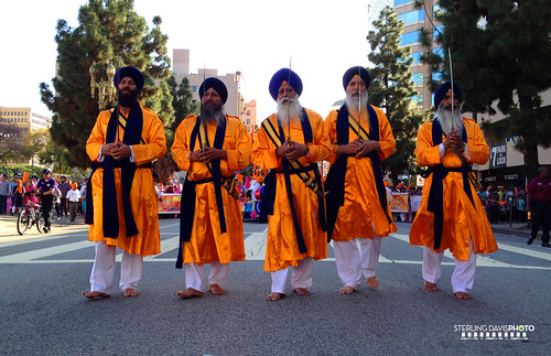 The Panj Pyare lead the Nagar Kirtan in Los Angeles, California on Sunday, April 8, 2012 (photo: flickr user STERLINGDAVISPHOTO)
