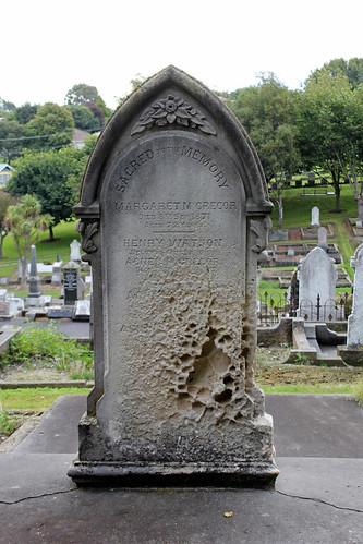 Limestone gravestone